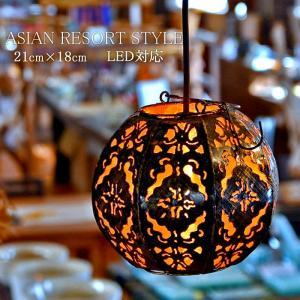 ペンダントライト 吊り下げ照明 アイアン 透かしレリーフ オクタゴン  アジアンランプS オレンジ LAM-0074-OR|asianlamp-cahaya
