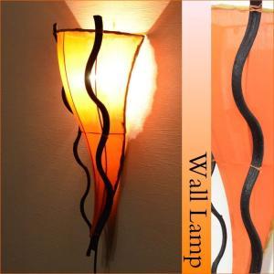ブラケットライト (LED対応) 布×リアナ 三角ウォールアジアンランプ オレンジ LAM-0110-OR|asianlamp-cahaya
