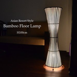 (送料無料) フロアライト フロアスタンド バンブー ラタン×布 くびれトールアジアンランプ ホワイト LAM-0122-WH|asianlamp-cahaya