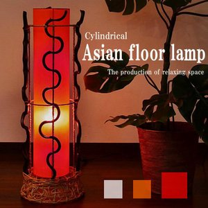 【期間限定!ポイント10倍!】フロアスタンドライト 布×リアナ 円柱型 フロアアジアンランプ 3色 LAM-0311-RE|asianlamp-cahaya