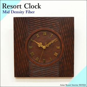 【期間限定!ポイント10倍!】バリ MDF 木彫りリゾート 壁掛け時計 カービング WOO-0389 新築祝|asianlamp-cahaya