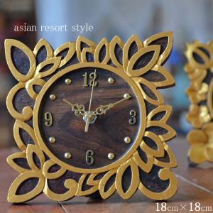 【期間限定!ポイント10倍!】バリ 木彫りレリーフ 置き時計 ロータス 18×18cm WOO-0432-C ギフト|asianlamp-cahaya