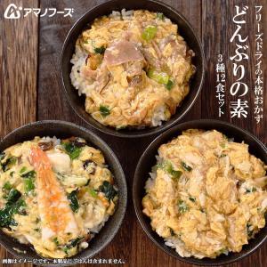 アマノフーズ フリーズドライ  惣菜 どんぶりの素 3種類12食セット(親子煮・中華あんかけ・牛肉の玉子とじ) asianlife