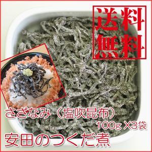 塩こんぶ さざなみ(塩吹昆布)100g X3袋  安田のつくだ煮  ゆうパケット便|asianlife