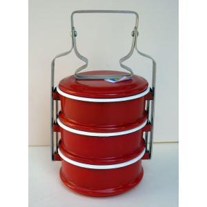 【再入荷】ホーロー3段お弁当箱−赤|asianmable