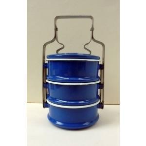 【再入荷】ホーロー3段お弁当箱−青|asianmable