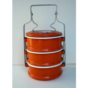 【再入荷】ホーロー3段お弁当箱−オレンジ|asianmable