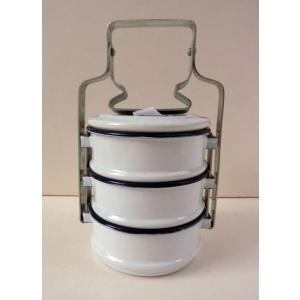 【再入荷】ホーロー3段お弁当箱−白|asianmable