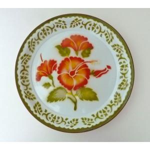 【NEW】タイのアンティークお花柄ホーロートレーLLグリーン|asianmable