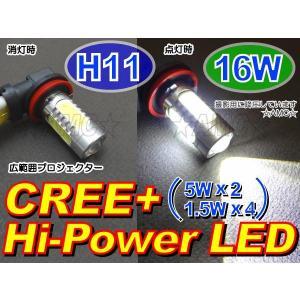 AMC H11フォグランプ等に 16W強力LEDバルブ=CREE広範囲プロジェクター5W×2+側面6WハイパワーLED球 白 1個 AMC|asianmotors
