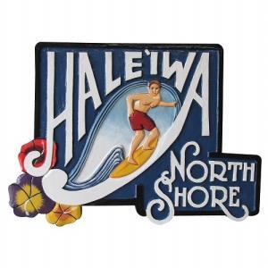 HALEIWA NORTH SHORE 木彫りのハワイアンサインボード Man 56X40