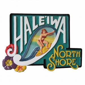 HALEIWA NORTH SHORE 木彫りのハワイアンサインボード Woman 56X40