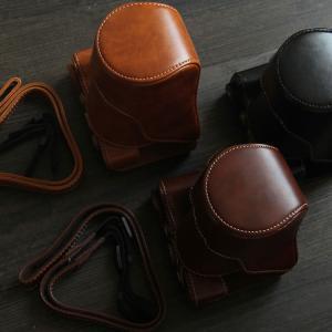 レザーカメラケース CANON EOS M100 M10 M2 M 対応 お揃いカラーのストラップ付き 専用ケースでぴったりフィット|asianzakka|11