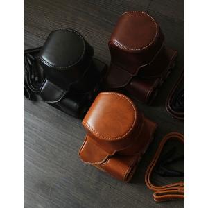 レザーカメラケース CANON EOS M100 M10 M2 M 対応 お揃いカラーのストラップ付き 専用ケースでぴったりフィット|asianzakka|13