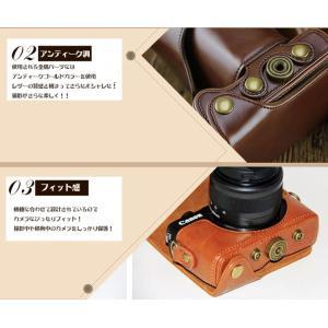 レザーカメラケース CANON EOS M100 M10 M2 M 対応 お揃いカラーのストラップ付き 専用ケースでぴったりフィット|asianzakka|04