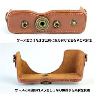 レザーカメラケース CANON EOS M100 M10 M2 M 対応 お揃いカラーのストラップ付き 専用ケースでぴったりフィット|asianzakka|05
