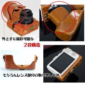 レザーカメラケース CANON EOS M100 M10 M2 M 対応 お揃いカラーのストラップ付き 専用ケースでぴったりフィット|asianzakka|06