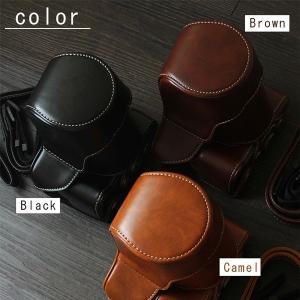 レザーカメラケース CANON EOS M100 M10 M2 M 対応 お揃いカラーのストラップ付き 専用ケースでぴったりフィット asianzakka 02