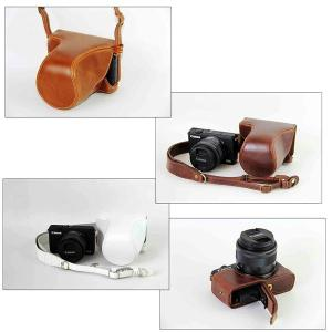 レザーカメラケース CANON EOS M100 M10 M2 M 対応 お揃いカラーのストラップ付き 専用ケースでぴったりフィット asianzakka 11