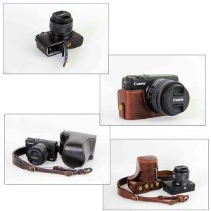 レザーカメラケース CANON EOS M100 M10 M2 M 対応 お揃いカラーのストラップ付き 専用ケースでぴったりフィット asianzakka 12