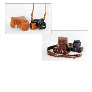 レザーカメラケース CANON EOS M100 M10 M2 M 対応 お揃いカラーのストラップ付き 専用ケースでぴったりフィット asianzakka 13