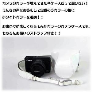 レザーカメラケース CANON EOS M100 M10 M2 M 対応 お揃いカラーのストラップ付き 専用ケースでぴったりフィット asianzakka 03