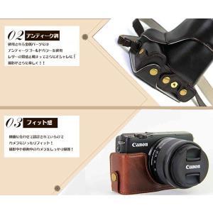 レザーカメラケース CANON EOS M100 M10 M2 M 対応 お揃いカラーのストラップ付き 専用ケースでぴったりフィット asianzakka 05