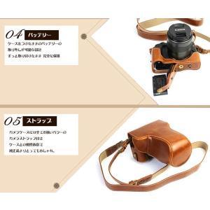 レザーカメラケース CANON EOS M100 M10 M2 M 対応 お揃いカラーのストラップ付き 専用ケースでぴったりフィット asianzakka 06