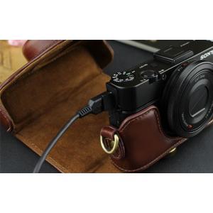 レザーカメラケース Sony RX100シリーズ専用 レザーケース M M2 M3 M4 M5 M6 用 レザージャケット お揃いカラーのストラップ付き asianzakka 10