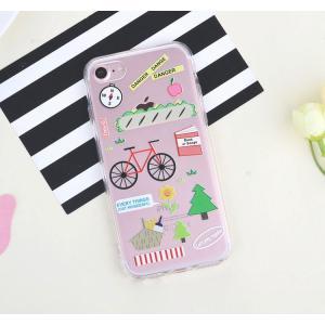 iPhone8 plusケース iPhone7 plusケース ステッカーみたいな可愛いクリアケース 自転車 ソフトクリアケース ソフトケース ソフトタイプ iPhoneケース|asianzakka