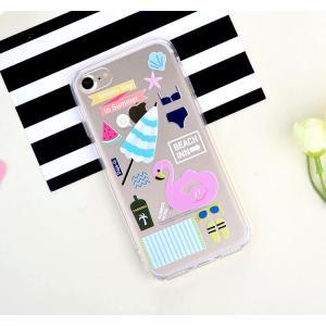 iPhone8 plusケース iPhone7 plusケース ステッカーみたいな可愛いクリアケース フラミンゴ ソフトクリアケース ソフトケース ソフトタイプ iPhoneケース|asianzakka