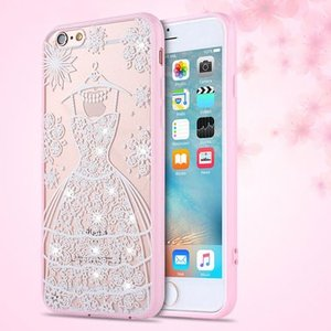 iPhone8 plusケース iPhone7 plus ラインストーン タトゥー風 クリアケース ウェディングドレス レース フレーム風 TPUセミハードケース 花 ドレス iPhoneケース|asianzakka