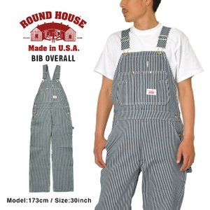ラウンドハウス オーバーオール ROUND HOUSE ヒッコリー ストライプ BIB OVERAL...