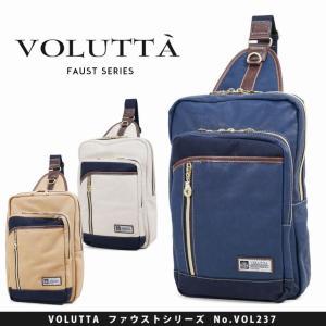 ボディバッグ メンズ VOLUTTA ヴォルッタ ファウスト ボディーバッグ ワンショルダー 肩掛け 合成皮革 帆布 A4未満 タテ型 タブレット対応 軽量|askashop