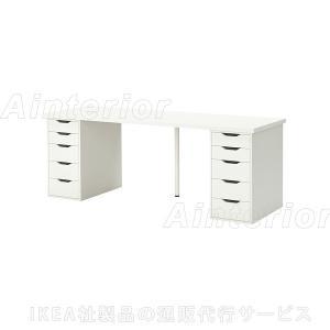IKEA・イケア テーブル・オフィス家具 LINNMON/ ALEX テーブル, ホワイト, 200x60 cm (092.224.50)|asobinointerior