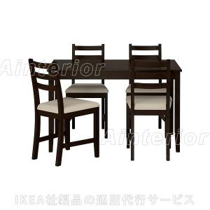 IKEA・イケア ダイニングテーブル・チェア LERHAMNテーブル&チェア4脚, ブラックブラウン, ヴィッタリード ベージュ(992.511.79)|asobinointerior