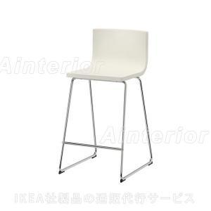 【IKEA/イケア/通販】「ダイニング・バースツール」BERNHARDバースツール 背もたれ付き, クロムメッキ, カヴァト ホワイト(602.726.58)|asobinointerior