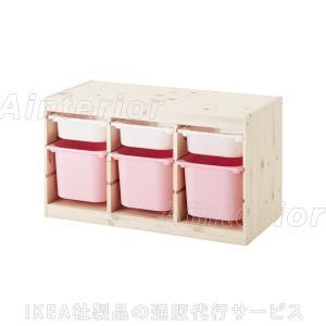 IKEA・イケア おもちゃ箱・子供収納 TROFAST(トロファスト) 収納コンビネーション  ピンク (092.408.78)|asobinointerior