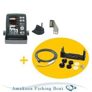 魚探 HONDEX ホンデックス 4.3型ワイドポーダブル魚群探知機 PS-500C TD04A 100W 200KHz 電源コード・架台セット asomarina
