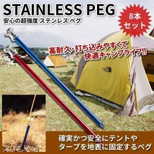 打ち込みやすい ステンレスペグ 8本セット 23cm 高耐久 キャンプ用品 オートキャンプ アウトドア レジャー テント ET-LESSPEG|aspace