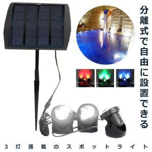 太陽光パネル スポットライト 3LED 電源不要 防水 屋外 エクステリア ET-SHILI16 aspace