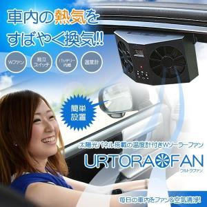ウルトラファン ツイン カーソーラー 車用 換気扇 空気清浄機 温度計 充電池 搭載 ソーラーパネル 自動車 車載用 ET-ULTFAN|aspace