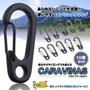 カラビーナス 10個  カラビナ 登山 レジャー キャンプ カバン キーチェーン おしゃれ DIY 工具 旅 P-KARAVENAS aspace
