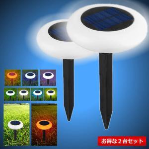 自動点灯 刺しこみ式 ソーラー ライト 2台セット LED 電気代0円 防水対応 ガーデン 玄関 屋外照明 太陽光充電 2-HTJTERJE|aspace