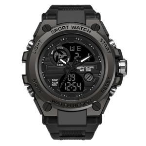 クロノグラフ腕時計 ブラック メンズ 男性 多機能 スポーツウォッチ オシャレ 快適 時間 クロック 高機能 高性能 贈り物 CLOGODE-BK aspace