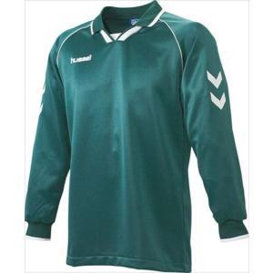 [hummel]ヒュンメル 長袖ゲームシャツ (HAG2006A)(56) Dグリーン×ホワイト[取寄商品]|aspo