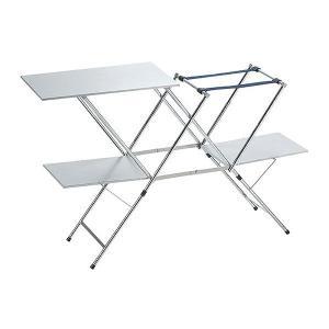 ツーバーナーのスタンドと調理台の一体システム。衛生的なステンレス天板タイプ。  【使用時サイズ】10...