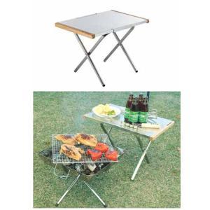 焚き火を囲んでのサイドテーブルや、ダッチオーブンを楽しむ際にも活躍する、特殊エンボス加工を施したステ...