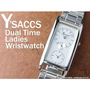 【Y'SACCS】イザック デュアルタイムレディース腕時計 レクタンギュラーフェイス YS-5115/ホワイト|asshop