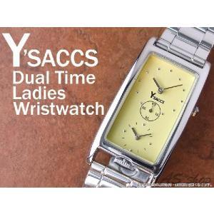 【Y'SACCS】イザック デュアルタイムレディース腕時計 レクタンギュラーフェイス YS-5251/イエロー|asshop